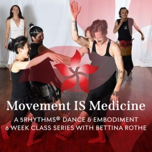 Movement is Medicine flyer, people moving and dancing